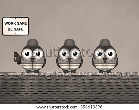 Sepia work safe be safe health and safety message with construction worker birds wearing personal protection equipment perched on a rooftop - stock photo