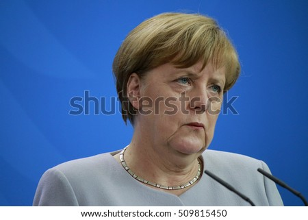 SEPTEMBER 27, 2016 - BERLIN: German Chancellor Angela Merkel at a press conference after a meeting with thePrime Minister of Malaysia in the Federal Chanclery in Berlin.