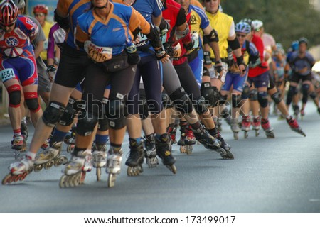 SEPTEMBER 23, 2006 - BERLIN: Inline Skaters at the Berlin City Marathon 2006, Berlin.