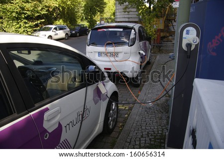 "SEPTEMBER 2013 - BERLIN: recharging of electric cars of the carsharing company  ""Multicity"" in Berlin."