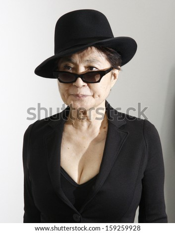 "SEPTEMBER 10, 2010 - BERLIN: Yoko Ono at a presentation of her latest work titled ""The Gift"" in the Gallery ""Haunch of Venison"" in Berlin."