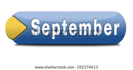 september button or icon for end of summer and begin fall or autumn month