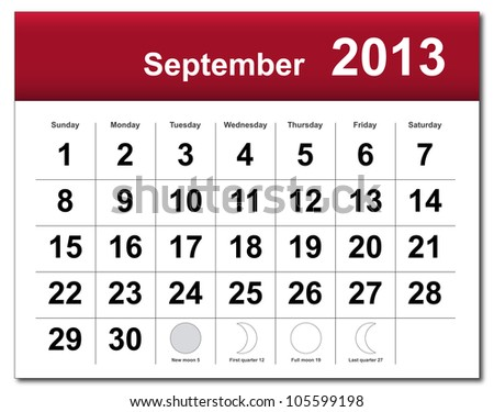 September 2013 calendar - stock photo