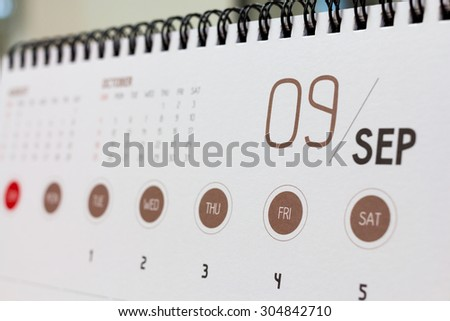 September calendar header. 2015 year calendar. - stock photo