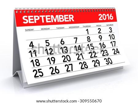 September 2016 Calendar. Isolated on White Background. 3D Rendering - stock photo