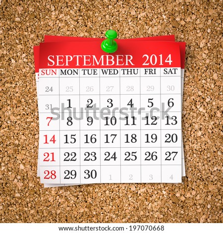 September 2014  Calendar on cork board , 3d render - stock photo