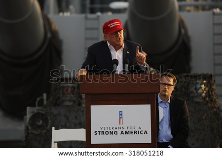 September 15, 2015, Donald Trump, 2016 Republican presidential candidate, speaks during a rally aboard the Battleship USS Iowa in San Pedro, Los Angeles, California - stock photo