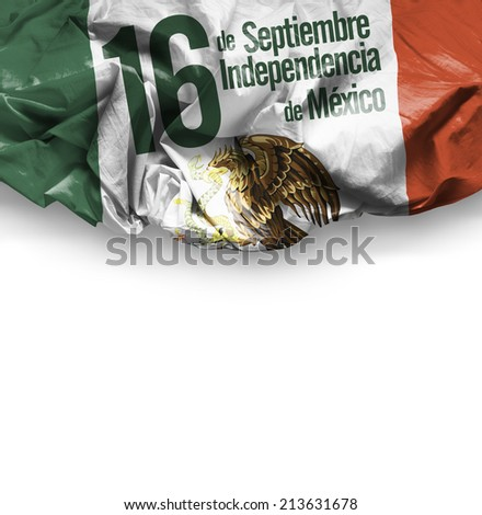 September, 16 Independence of Mexico - 16 de Septiembre, Independencia do Mexico on white background - stock photo