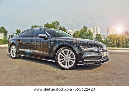 September 10, Kyiv. Audi S7 Quattro on the background of the city. Editorial photo.