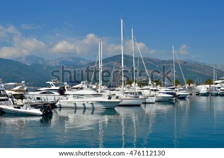 September 8, 2013. Montenegro, Tivat. Yachts in the port.