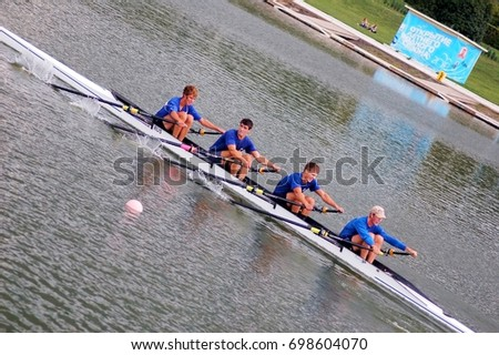 "September 4, 2011 Moscow, Training in rowing, before major competitions, veterans and young rowers of rowing club ""Dynamo"" Moscow."