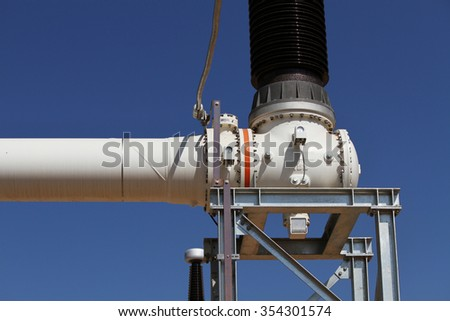 SEPTEMBER 9, 2015 : NAN - THAILAND : Under installation of outdoor equipment for Extra high voltage electric power 500 kV Gas Insulated Switchgear. ( GIS )