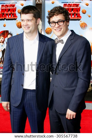 """September 12, 2009. Phil Lord and Chris Miller at the Los Angeles premiere of """"Cloudy With A Chance Of Meatballs"""" held at the Mann Village Theater, Los Angeles.  - stock photo"""