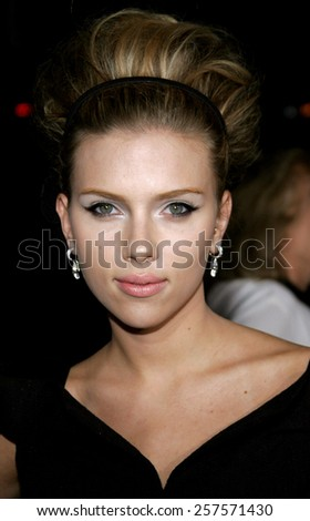 """September 6, 2006. Scarlett Johansson at the Los Angeles Premiere of """"The Black Dahlia"""" held at the Academy of Motion Picture Arts and Sciences in Beverly Hills, California. - stock photo"""