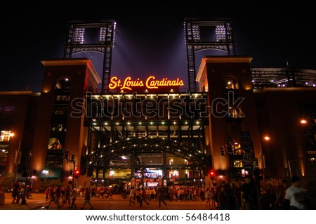 SEPTEMBER 27 - ST. LOUIS: New Busch Stadium on the night of September 27, 2008 in St. Louis, MO. - stock photo
