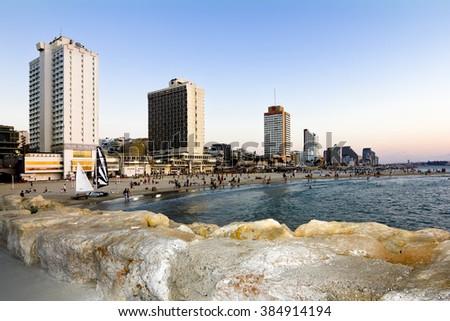 September 21, 2012 .Tel Aviv. The Promenade In Tel Aviv at sunset. Israel - stock photo