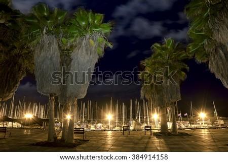 September 21, 2012 .Tel Aviv. The promenade in tel Aviv at the evening illuminations. Israel. - stock photo