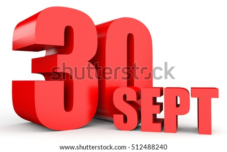 September 30. Text on white background. 3d illustration.