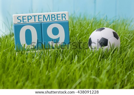 September 9th. Image of september 9 wooden color calendar on green grass lawn background. Autumn day. Empty space for text. International Beauty Day - stock photo