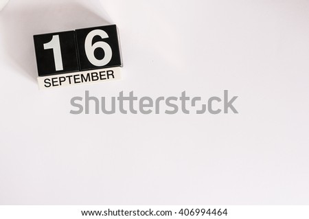 September 16th. Image of september 16 wooden office calendar on white background. Autumn day. Empty space for text - stock photo