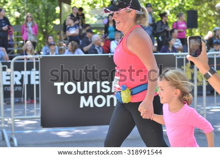 September 20th, 2015 - Montreal, Canada. Marathon de Montreal at the streets and the finish closeup.