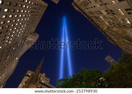 September 11th tribute in light in New York City. - stock photo