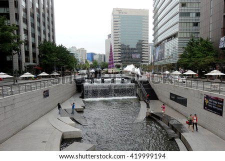 September 9, 2012: View at Cheonggyecheon stream. The stream is a 10.9 km (7.0 miles) long, modern public recreation space in downtown Seoul, South Korea.