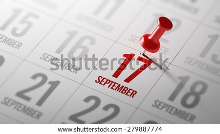 September 17 written on a calendar to remind you an important appointment. - stock photo
