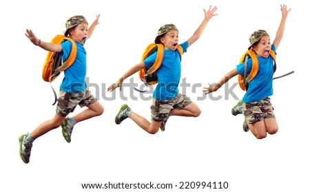 Sequence of  child' portrait with backpack and a cap jumping, running, waving with his hand and shouting. Isolated over white background - stock photo