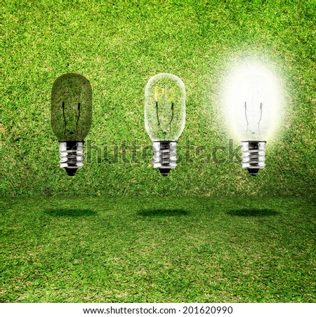Sequence of Creative idea,three bulb in grass room,eco idea