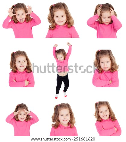 Sequence of images of a pretty girl with different gestures isolated on white background - stock photo