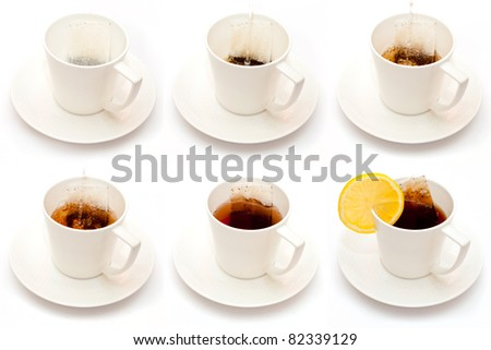 Sequence of tea making on white - stock photo