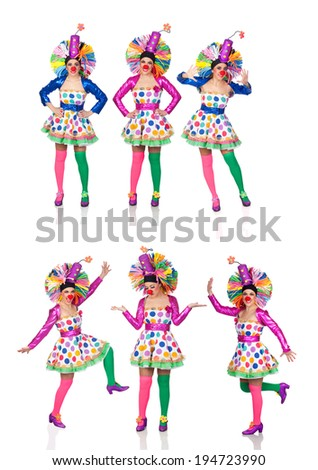 Sequence photos funny woman in clown isolated on a white background - stock photo