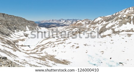 Sequoia National Park Scenery. View from Forester Pass in the Sierra Nevada, California, USA. - stock photo