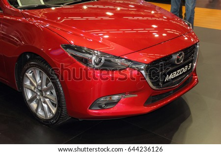 Serbia; Belgrade; April 2, 2017; front side of red Mazda 3; The 53rd International Motor Show in Belgrade from March 24th to April 2nd, 2017.