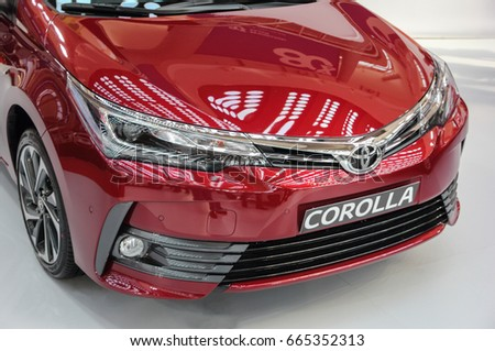 Serbia; Belgrade; April 2, 2017; front side of red Toyota Corolla; The 53rd International Motor Show in Belgrade from March 24th to April 2nd, 2017.