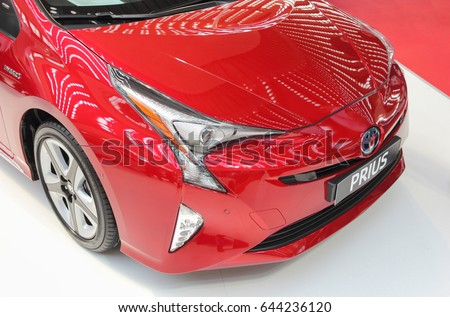 Serbia; Belgrade; April 2, 2017; front side of red Toyota Prius; The 53rd International Motor Show in Belgrade from March 24th to April 2nd, 2017.