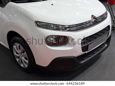 Serbia; Belgrade; April 2, 2017; front side of white Citroen C3; The 53rd International Motor Show in Belgrade from March 24th to April 2nd, 2017.