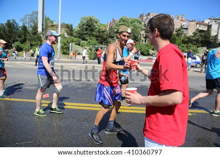 SERBIA, BELGRADE - APRIL 16, 2016: Runners in 29th Belgrade Marathon?. Participants of Traditional marathon in Belgrade with more than 4500 runners on streets.