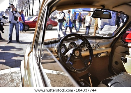 Serbia, Belgrade - March 15, 2013:  Old-timers at International Belgrade car show and motopassion on Belgrade Fair
