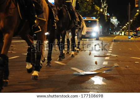 SERBIA, BELGRADE - MAY 29, 2011: Image of police riot horses during violent demonstrations  - stock photo