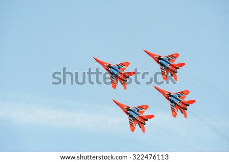 SERBIA ,BELGRADE -  October 2014: Russian Aerobatic team Swifts MiG-29 takes off into the sky to show aerobatics October, 2014, Belgrade , Serbia