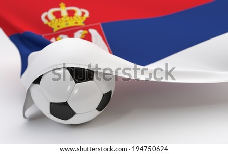 Serbia flag and soccer ball on white backgrounds - stock photo