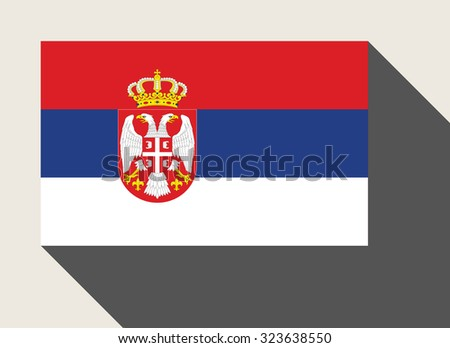 Serbia flag in flat web design style. - stock photo