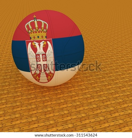 Serbia flag on basketball, over parquet background, 3d render, square image - stock photo