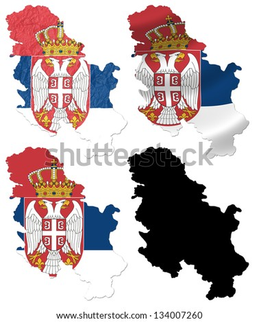 Serbia flag over map collage