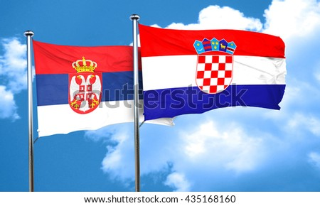 Serbia flag with Croatia flag, 3D rendering  - stock photo