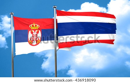 Serbia flag with Thailand flag, 3D rendering