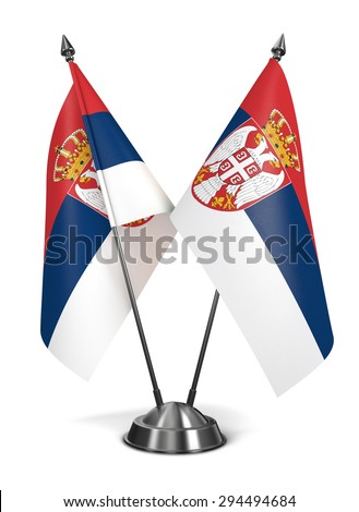 Serbia - Miniature Flags Isolated on White Background. - stock photo