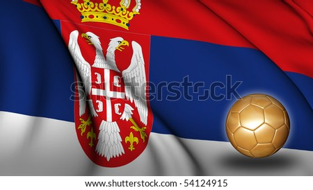 Serbia soccer flag - stock photo